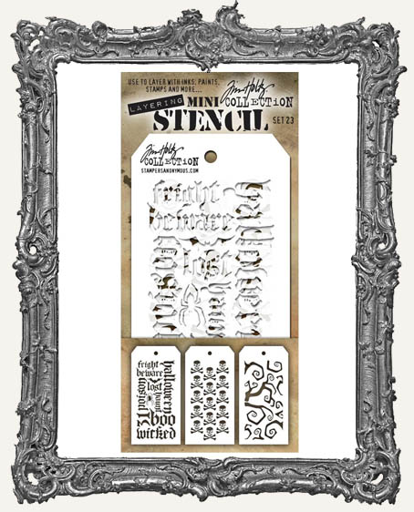 Tim Holtz Mini Layered Stencil Set - Halloween Script - Crossbones - Twisted