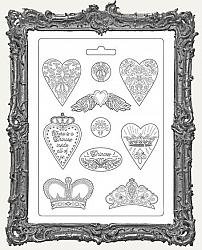 Stamperia A4 Soft Maxi Mould - Hearts and Crowns