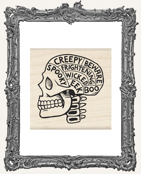 Wood Mounted Rubber Stamp - Skull Phrenology