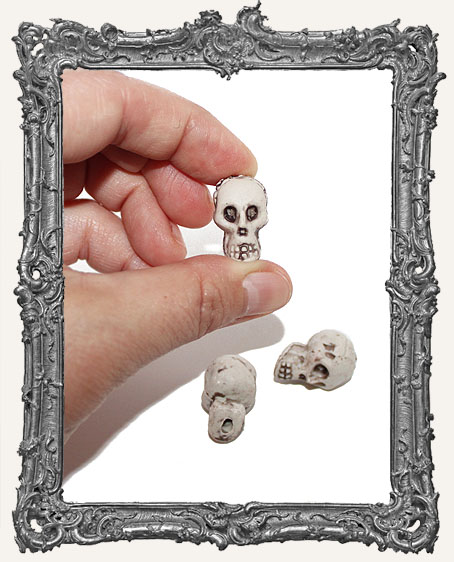 Resin Skull Bead - Ivory - Set of 2