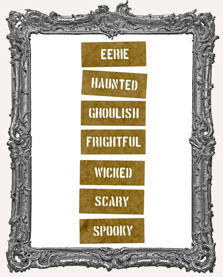 Mini Stencil Words Set of 7 - Halloween Adjectives