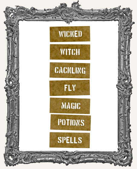 Mini Stencil Words Set of 7 - Halloween Witches