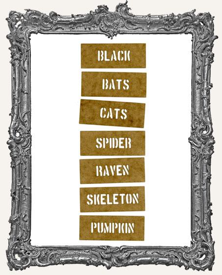 Mini Stencil Words Set of 7 - Halloween Icons