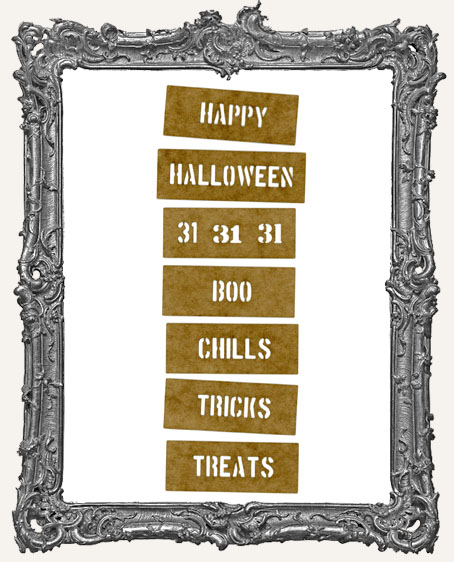 Mini Stencil Words Set of 7 - Happy Halloween
