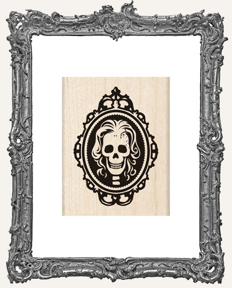 Skull Cameo Wood Mounted Halloween Stamp
