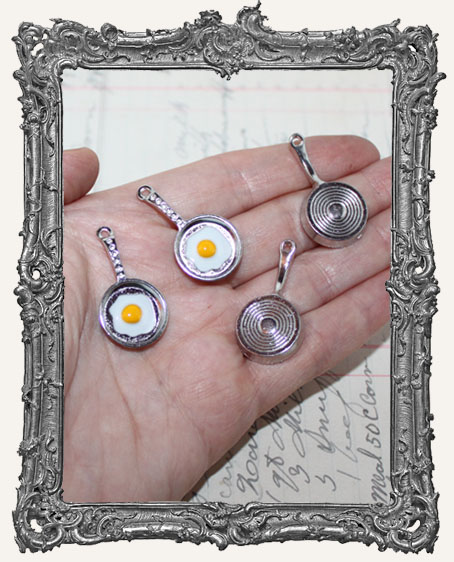 Antique SILVER Egg and Frying Pan Charms - Set of 2