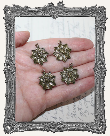 Small Antique Brass Spider Web Charms - Set of 4