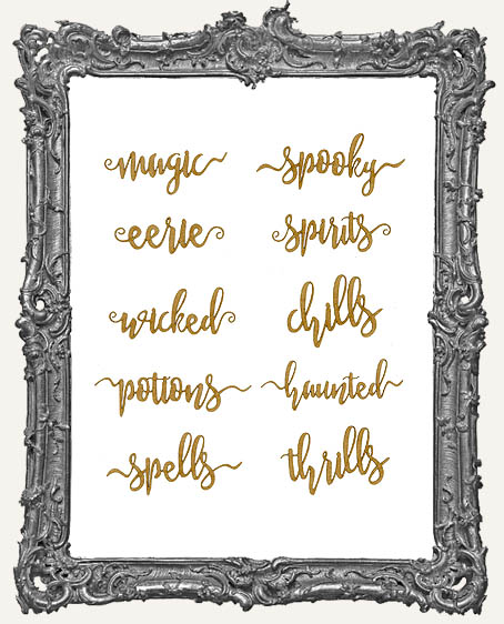 MINI Halloween Art Script Word Cut-Outs - 10 Pieces