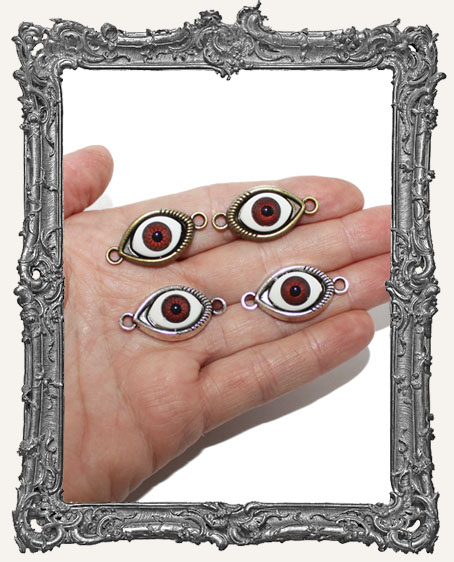 Brown Eye Charms - One Pair Antique Silver OR Antique Gold