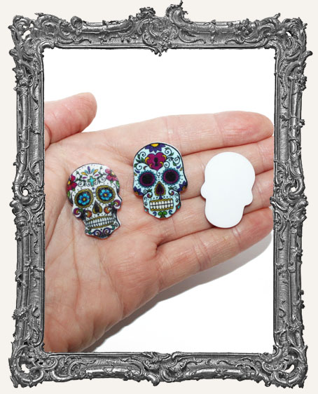 Flat Acrylic Sugar Skull Cabochons - Set of 2