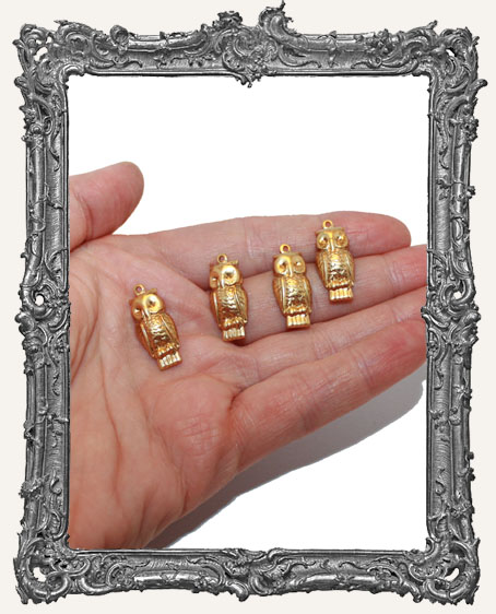 Brass Owl Charms - Set of 4