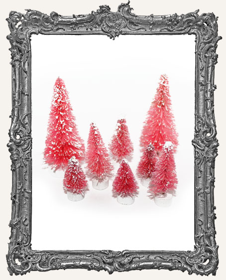 Frosted Pink Bottle Brush Tree Variety Pack - 8 Pieces