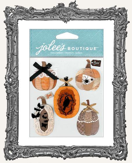 Vintage Pumpkins Dimensional Embellishments - 5 Pieces