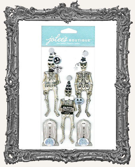 Skeletons Black and White Dimensional Embellishments - 5 Pieces