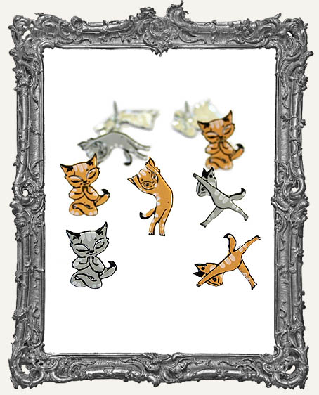 Yoga Cats Brads - 12 Piece
