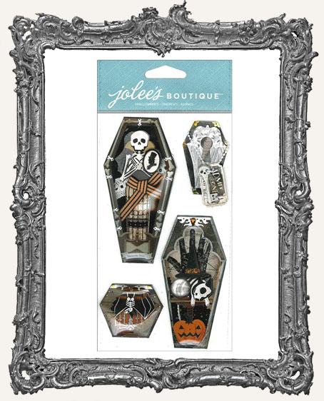 Vintage Coffins Dimensional Embellishments - 4 Pieces