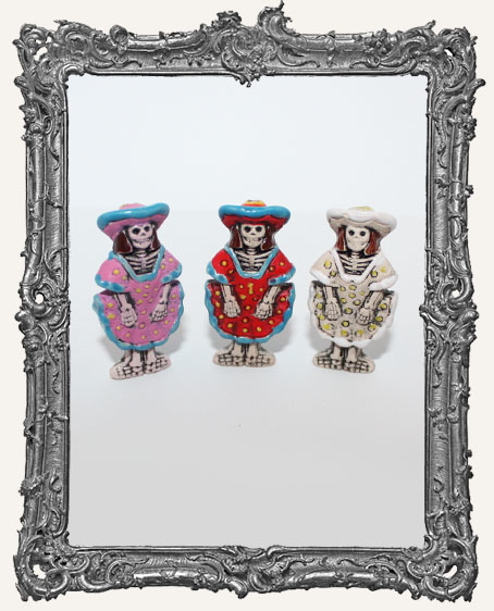 Large Catrina Skeleton Ceramic Bead