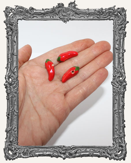 Small Ceramic Red Chile Bead