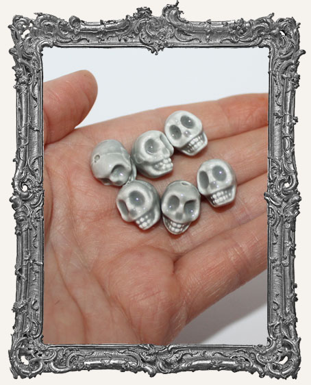 Glazed Ceramic Skull Beads Set of 3 - Grey
