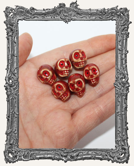 Glazed Ceramic Skull Beads Set of 6 - Red