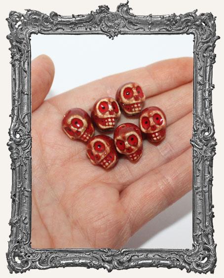 Glazed Ceramic Skull Beads Set of 6 - Red