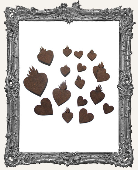 Flaming Heart Cut-Outs - 20 Pieces