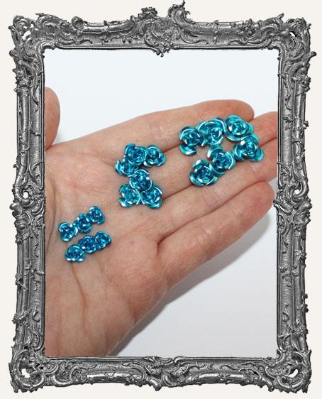 Mini Metal Roses Set of 6 - Blue