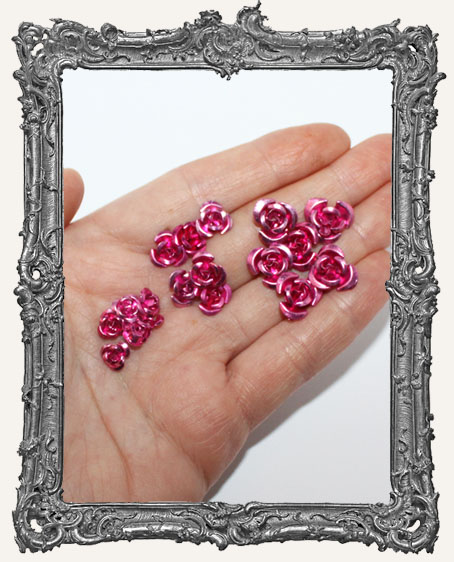 Mini Metal Roses Set of 6 - Pink
