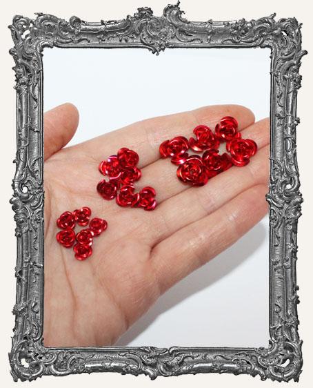 Mini Metal Roses Set of 6 - Red