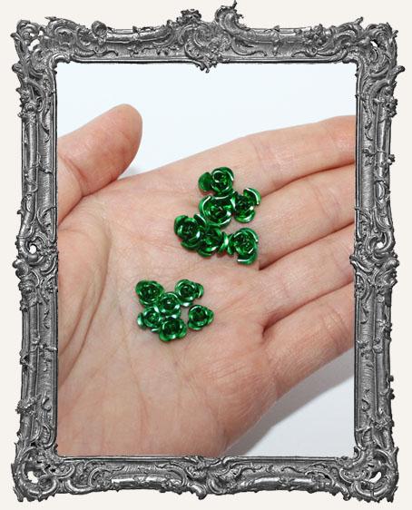 Mini Metal Roses Set of 6 - Green