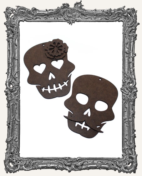 Senor and Senorita Sugar Skull Ornaments - Set of 2