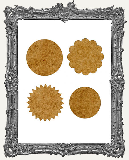 Artist Trading Coin Round Border Mask Stencils - Set B - Set of 4