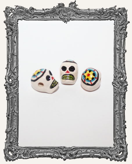 Medium Flower Sugar Skull Ceramic Bead
