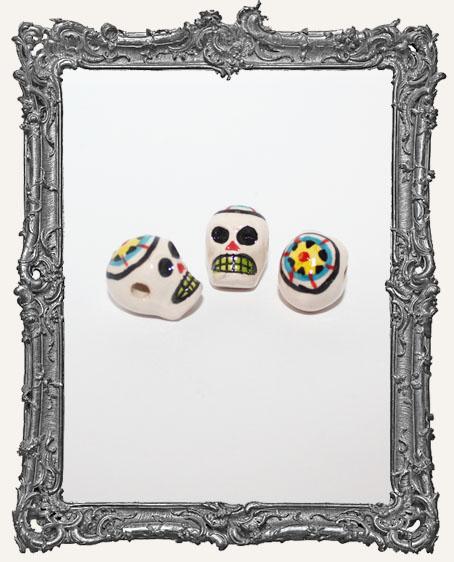 Medium Flower Sugar Skull Ceramic Bead