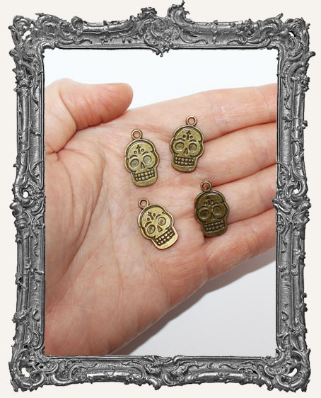 Antique Brass Sugar Skull Charms - Set of 4