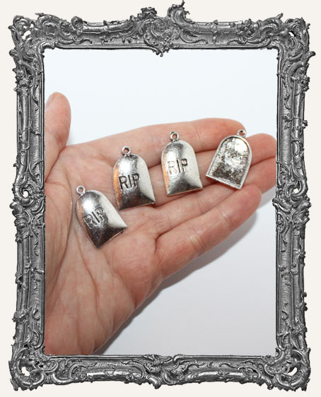 Antique Silver RIP Tombstone Charms - Set of 4