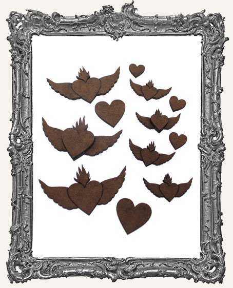 Winged Flaming Heart Cut-Outs - 14 Pieces