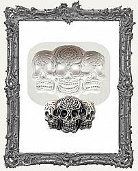 Small Grey Silicone Mold - Sugar Skull Trio