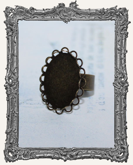 ANTIQUE BRONZE Victorian Lace Edge 25x18mm Adjustable Ring Blank