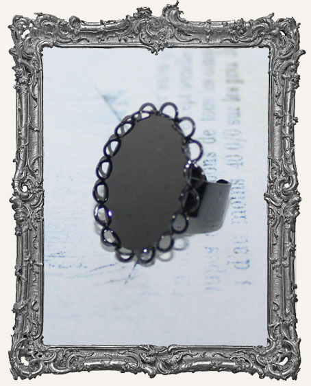 GUNMETAL Victorian Lace Edge 25x18mm Adjustable Ring Blank
