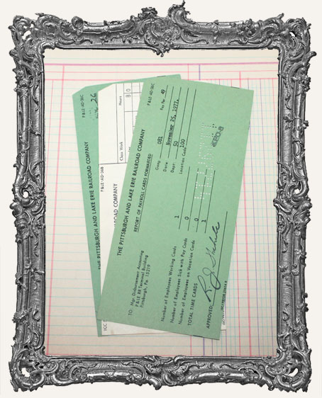 Vintage Railroad Company Ephemera Payroll Punch Cards - Set of 3