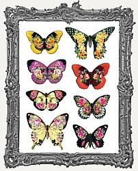 Flowerflies Floral Butterfly Masonite Cut-Outs - 8 Pieces - Set I