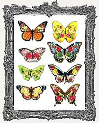 Flowerflies Floral Butterfly Masonite Cut-Outs - 8 Pieces - Set II