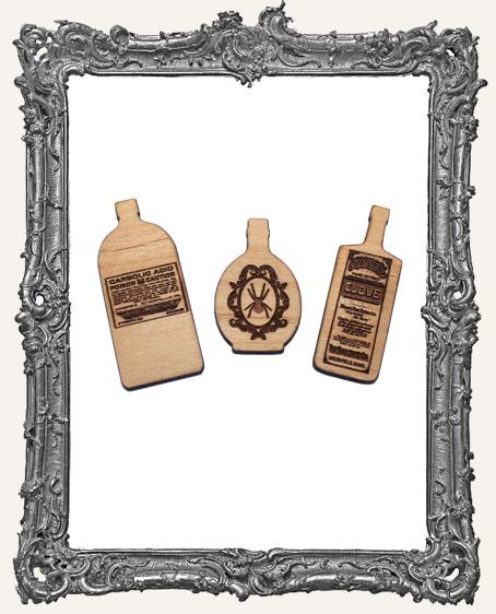 Wood Apothecary Bottles - Set of 3