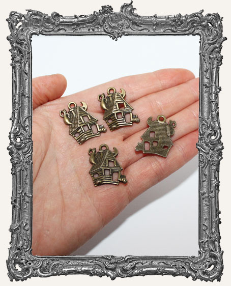 Antique Brass Haunted House Charms - Set of 4