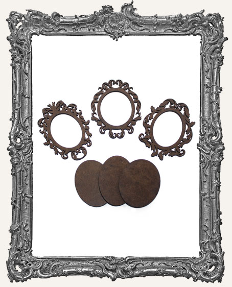Medium Baroque Layered Cameo Frames - Set of 3