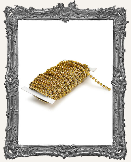 Gold Faux Rhinestone Mesh Ribbon - 10 yards