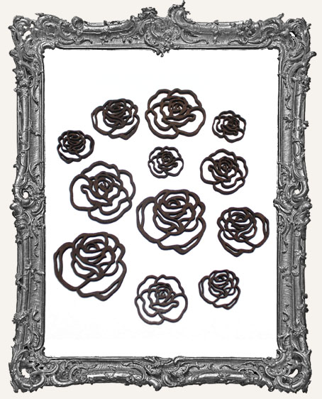 Open Rose Cut-Outs - 12 Pieces