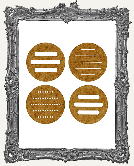 Artist Trading Coin Round Back Finishing Stencils - Set C - Set of 4