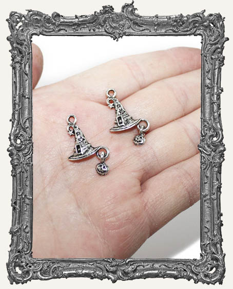 Antique Silver Witch Hat Charms with Pumpkin Dangle - Set of 2